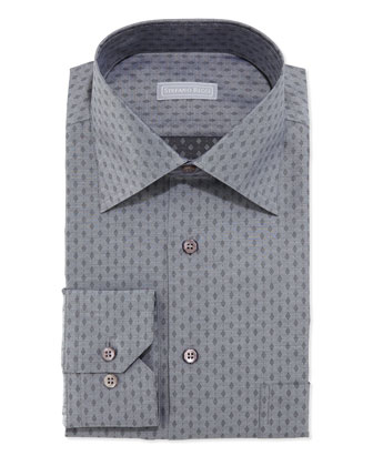 Small Diamond Pattern Dress Shirt, Gray