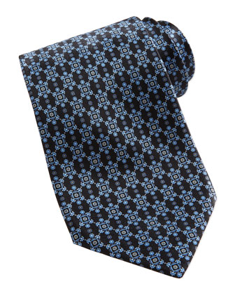 Neat Flower Medallion Silk Tie, Black
