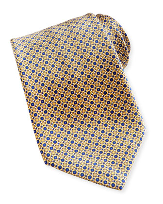 Flower Medallion Pattern Silk Tie, White