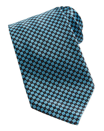 Neat Diamond Pattern Silk Tie, Blue