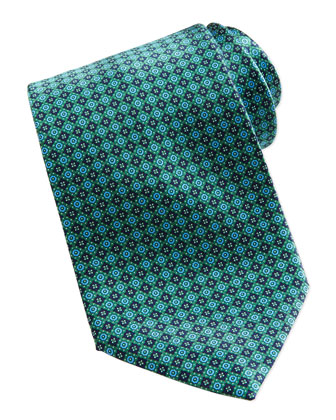 Neat Square Medallion Silk Tie, Green