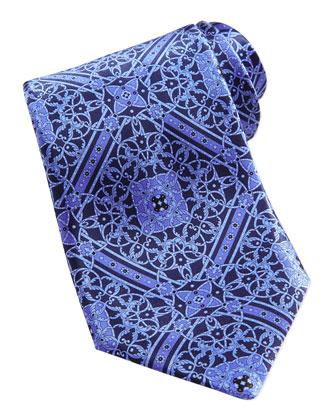 Floral Medallion Pattern Silk Tie, Purple