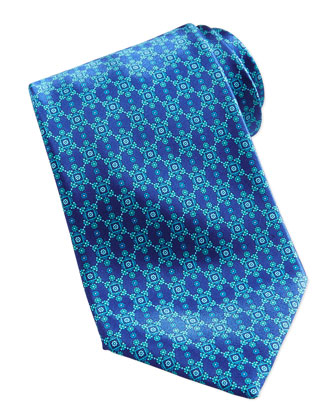 Neat Flower Medallion Silk Tie, Blue