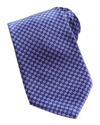 Neat Diamond Pattern Silk Tie, Purple