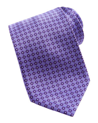 Neat Square Medallion Silk Tie, Purple