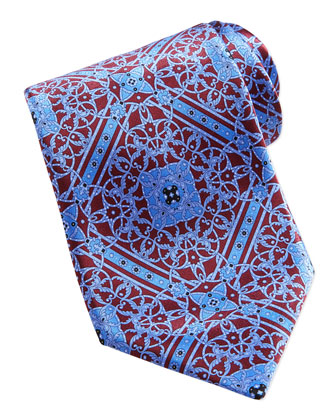 Floral Medallion Pattern Silk Tie, Burgundy