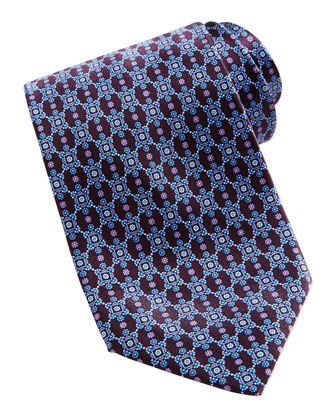 Neat Flower Medallion Silk Tie, Purple