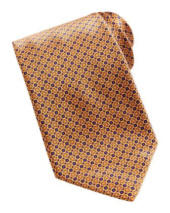 Neat Flower Pattern Silk Tie, Yellow