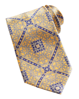 Floral Medallion Pattern Silk Tie, Gold