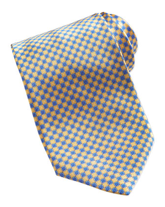 Neat Diamond Pattern Silk Tie, Yellow