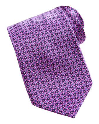 Neat Square Medallion Silk Tie, Pink