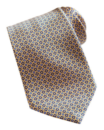 Neat Square Medallion Silk Tie, Gold
