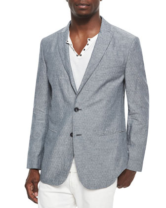 Cotton-Blend Soft Two-Button Jacket, Gray