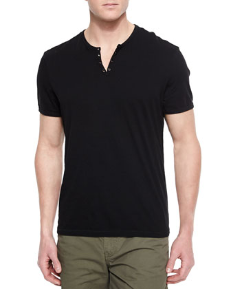 Short-Sleeve Knit Henley T-Shirt, Black
