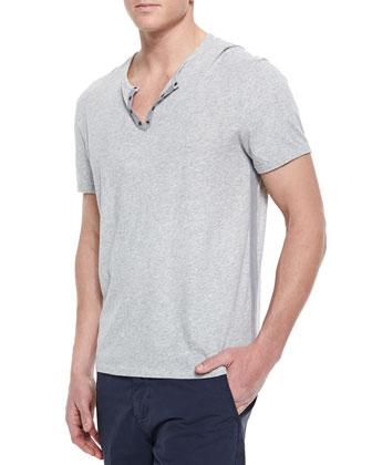 Short-Sleeve Knit T-Shirt, Gray
