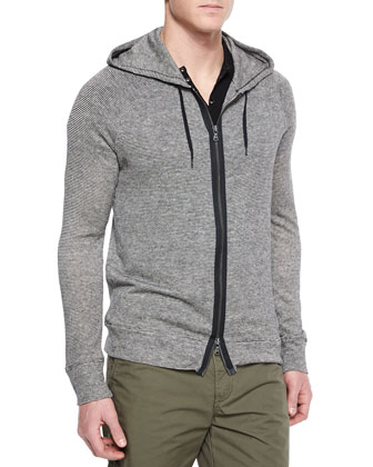 Striped Two-Way Zip Hoodie, Short-Sleeve Knit Henley T-Shirt & ...