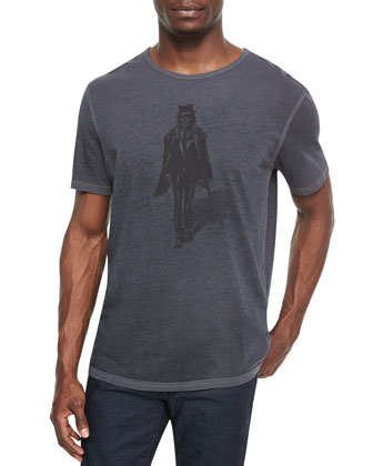 Skeleton-Graphic Knit Tee, Gray