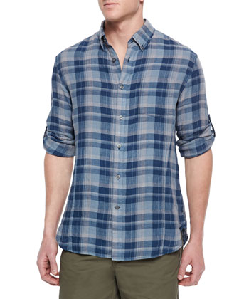 Roll-Tab Sleeve Plaid Shirt