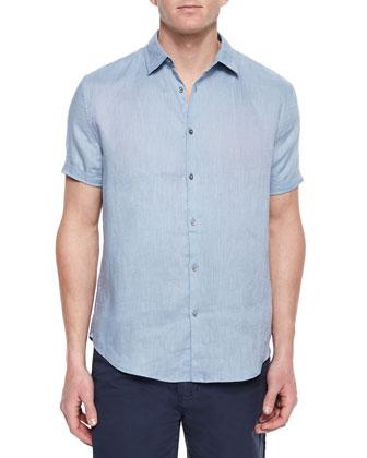 Short-Sleeve Woven Linen Shirt, Light Blue