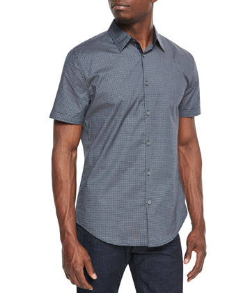 Micro-Check Cotton Shirt, Teal