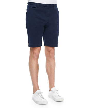 Tailored Cotton-Stretch Shorts, Navy