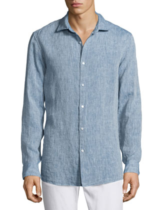 Slim-Fit Linen Sport Shirt, Indigo