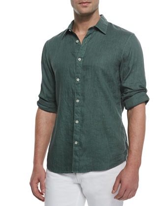 Tailored Linen Shirt, Patina Green