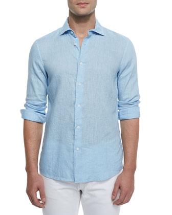 Tailored Roll-Tab Linen Shirt, Mist