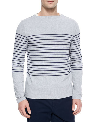 Striped Boat-Neck Sweater, Heather Gray
