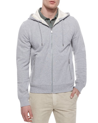 Zip-Up Hoodie Jacket, Heather Gray