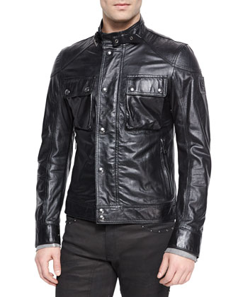 Racemaster Leather Jacket, Black