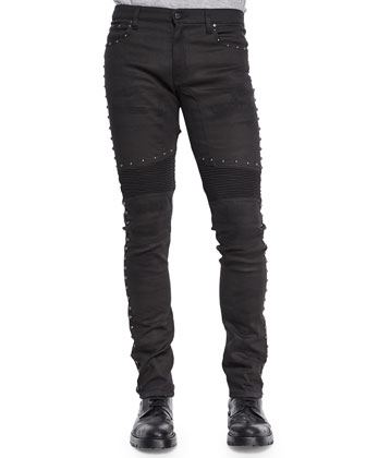 Eastham Studded Slim Stretch Jeans, Black