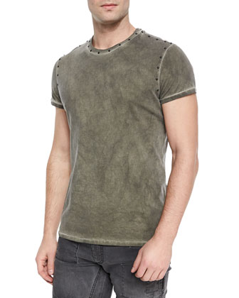 Kingman Studded Crewneck Tee, Green