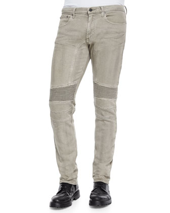 Eastham Garment-Dyed Stretch Jeans, Gray