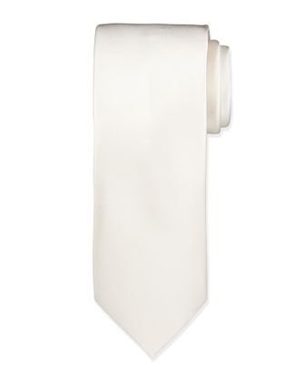 Solid Silk Satin Tie, Off White