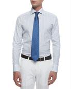 Woven Bold Pinstripe Dress Shirt, Aqua/White