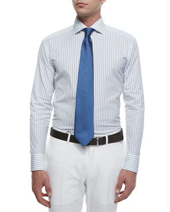 Woven Bold Pinstripe Dress Shirt, Aqua/White