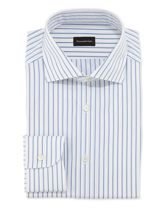 Woven Bold Pinstripe Dress Shirt, Blue/White