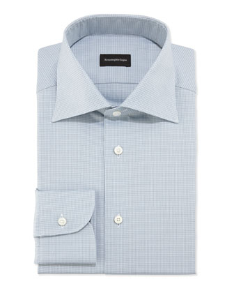 Woven Textured Microcheck Dress Shirt, Aqua