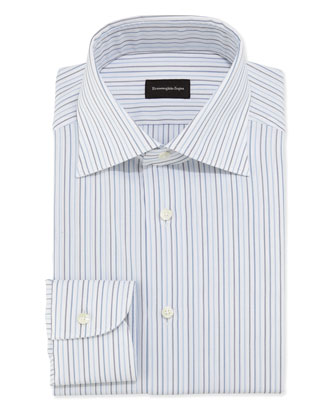 Woven Pinstripe Dress Shirt, Blue/White