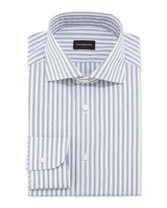 Woven Bold Stripe Dress Shirt, Navy/White