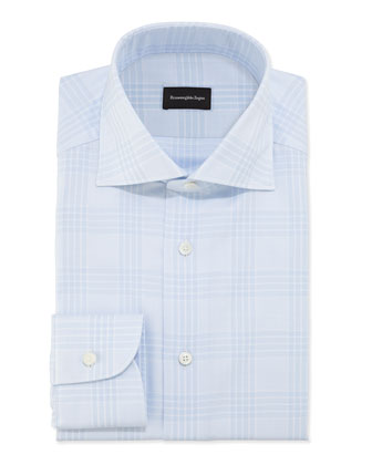 Woven Tonal Plaid Dress Shirt, Light Blue