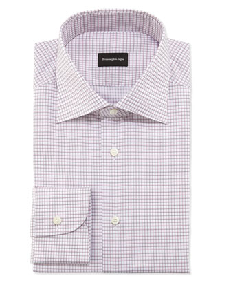 Woven Neat Check Dress Shirt, Pink