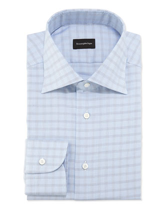 Woven Textured Box Check Dress Shirt, Blue