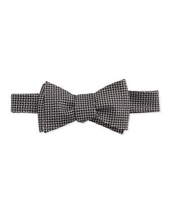 Textured Basket Weave Bow Tie, Black