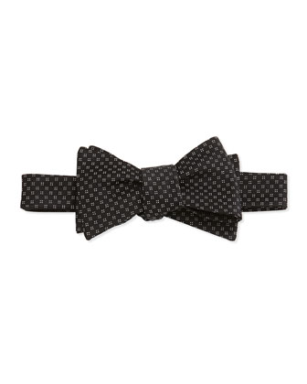 Square Diamond Pattern Bow Tie, Black