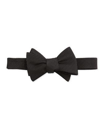 Pindot Pattern Silk Bow Tie, Black