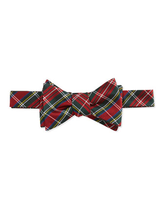 Tartan Pattern Silk Bow Tie, Red