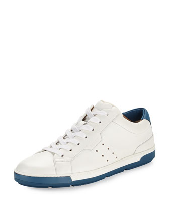 Ainor Calfskin Leather Lace-Up Sneaker, White