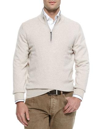Cashmere Quarter-Zip Pullover, Sand